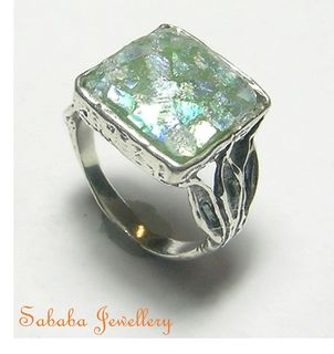 Roman Glass Sterling Ring