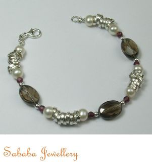 Smokey Quartz Sterling Bracelet