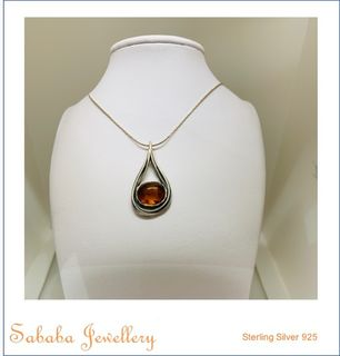 Amber Sterling Necklace