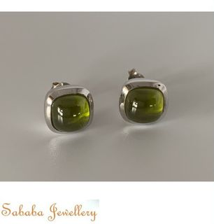 Sterling Silver 925 CZ Stud Olive Green