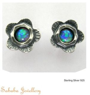 Sterling Flower Stud Earrings with Gemstones