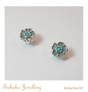 Flower Stud with Stone