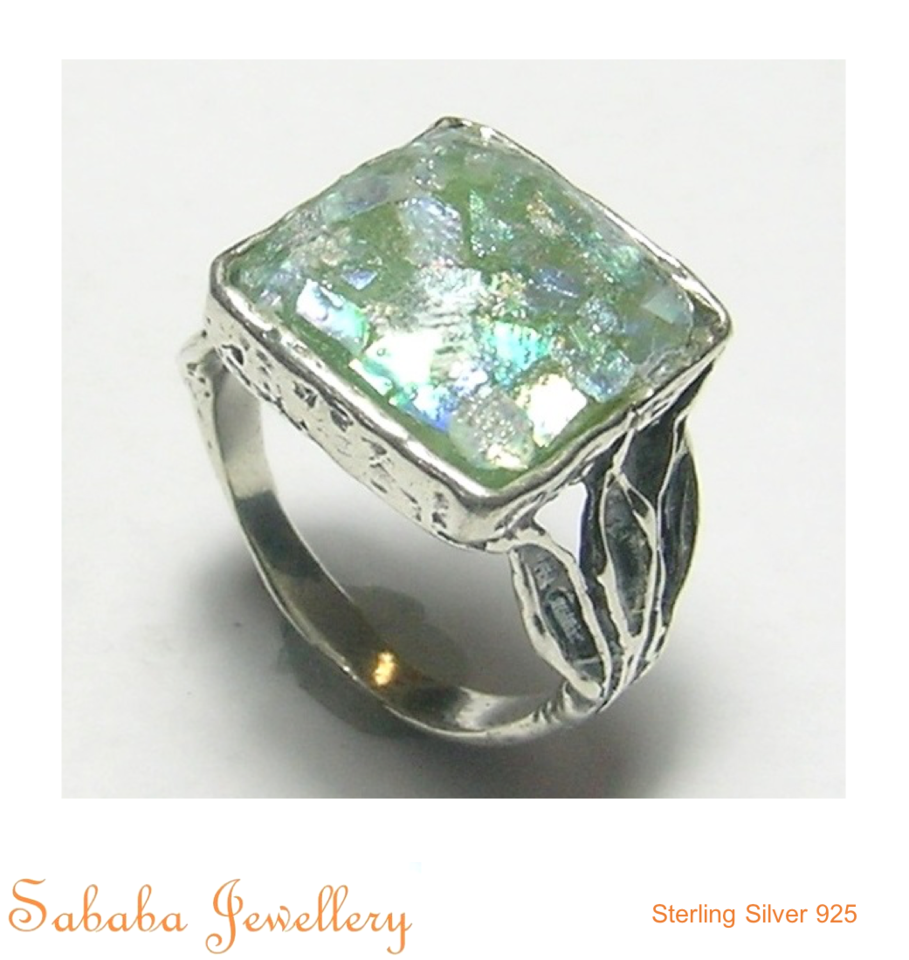 Sterling Silver Roman Glass Ring