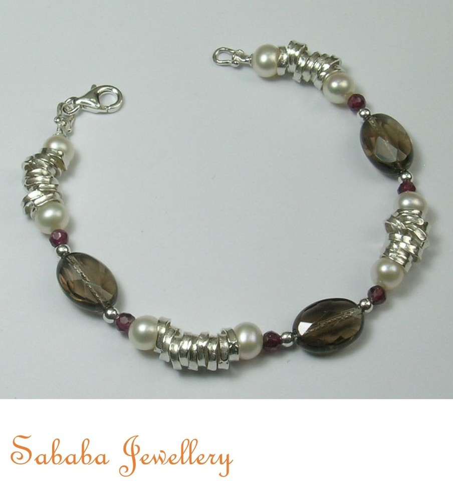Sterling Silver Smokey Quartz  Bracelet