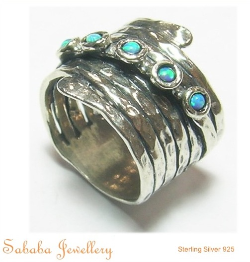 Sterling Silver Wrap wring with Opals