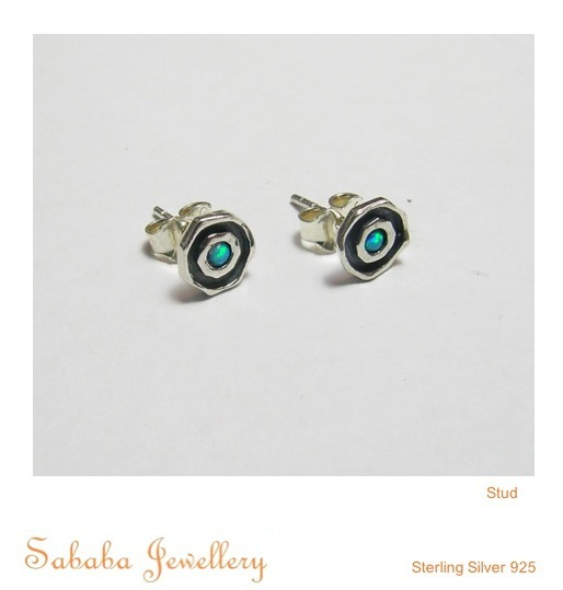 Layered Opal Stud Earring