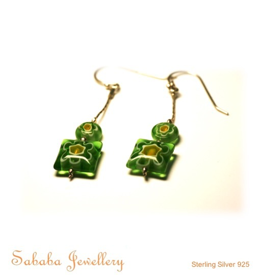 Glass Flower Bead Earrings