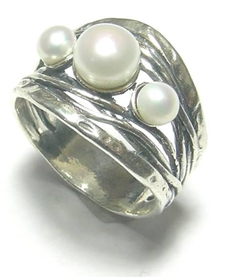 multi pearl sterling silver ring designer jewellery